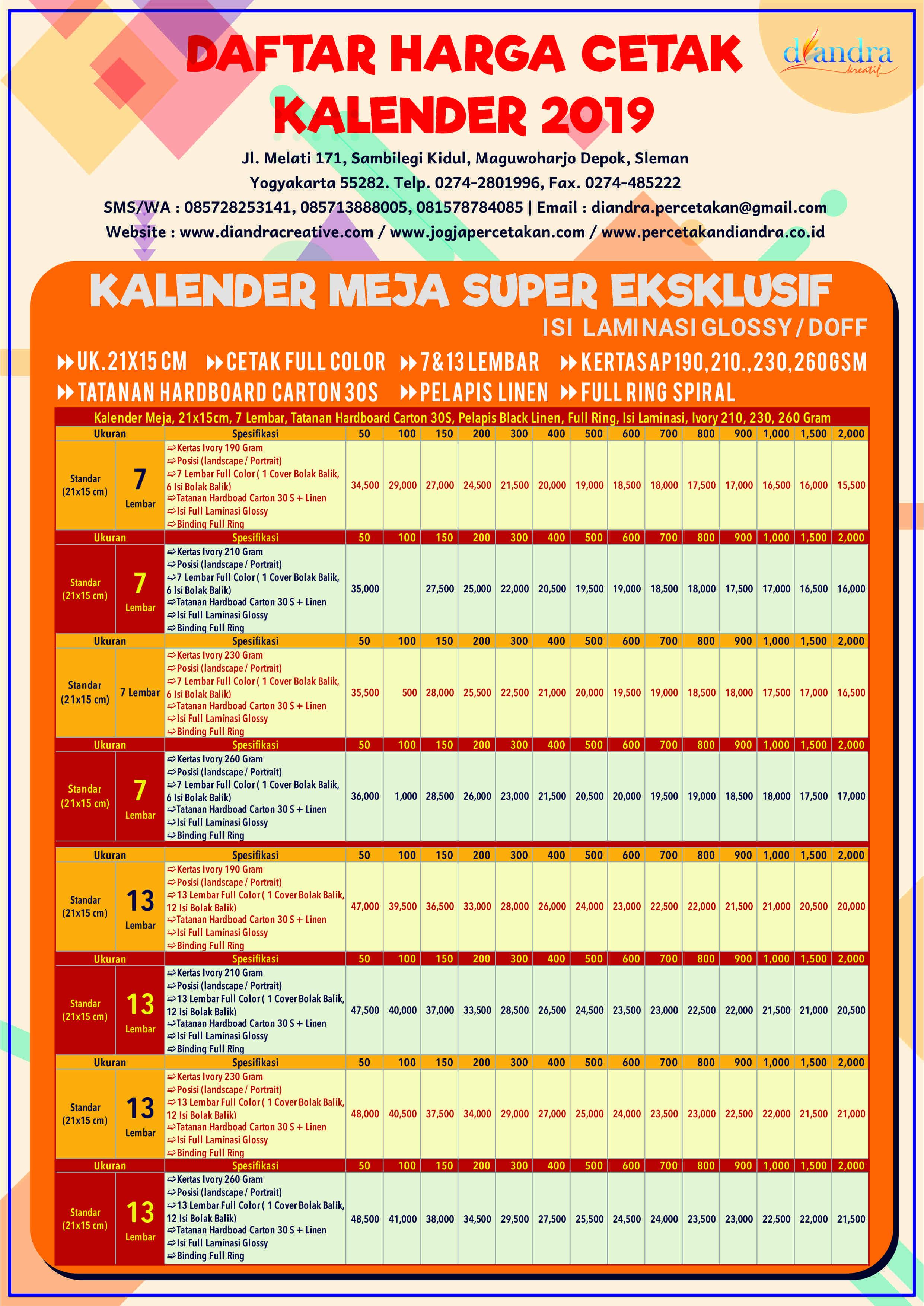 Kalender Meja Super Eksklusif