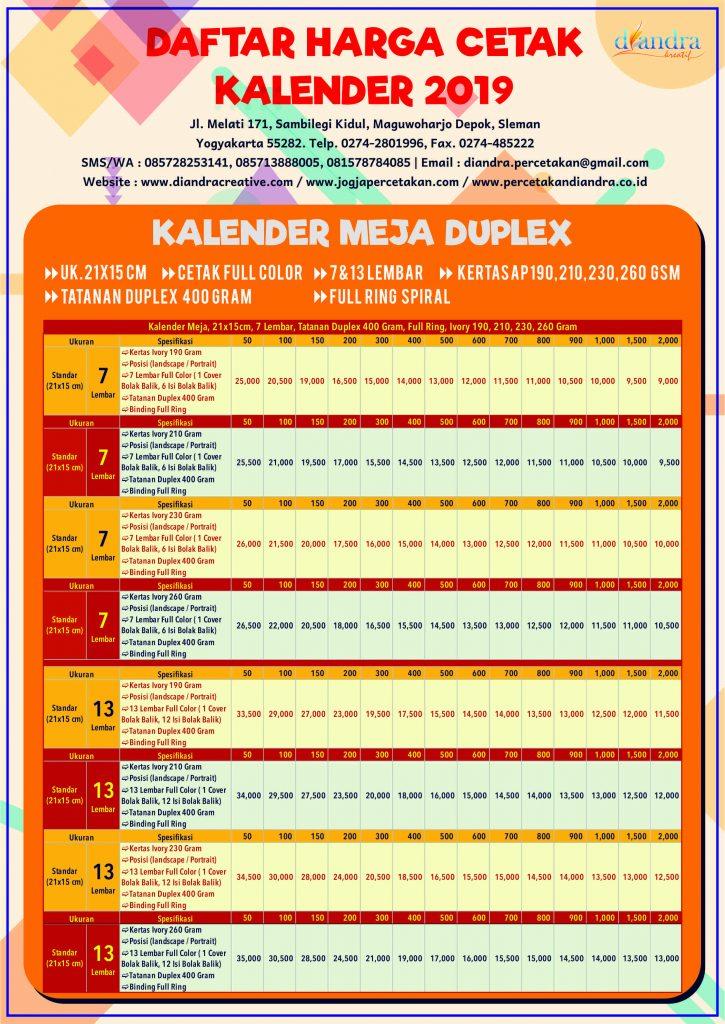 Kalender Meja Duplek