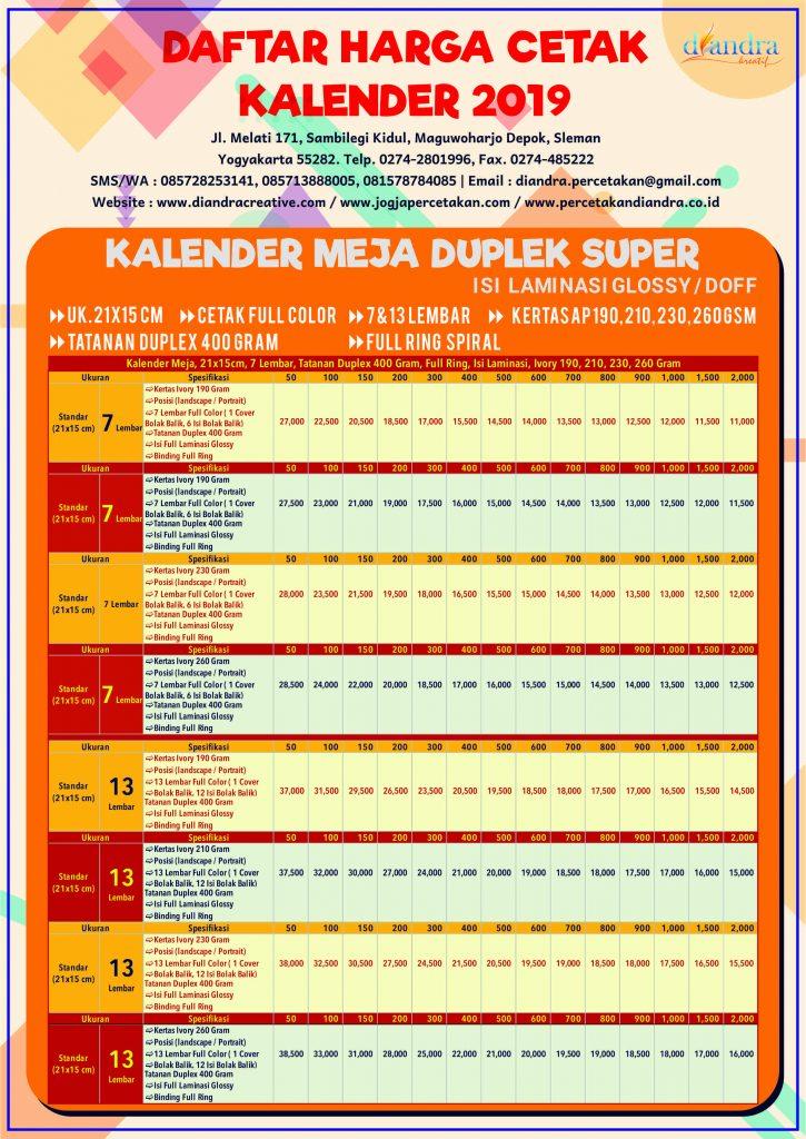 Kalender Meja Super Duplek