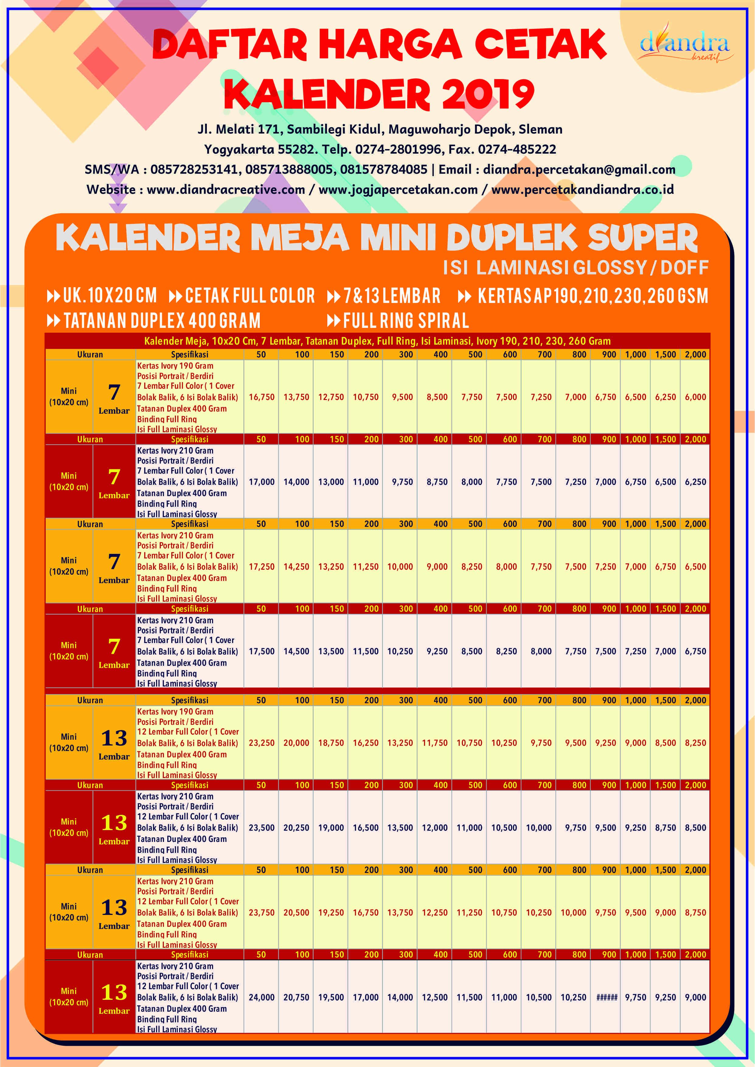 Kalender Meja Mini Duplex Super