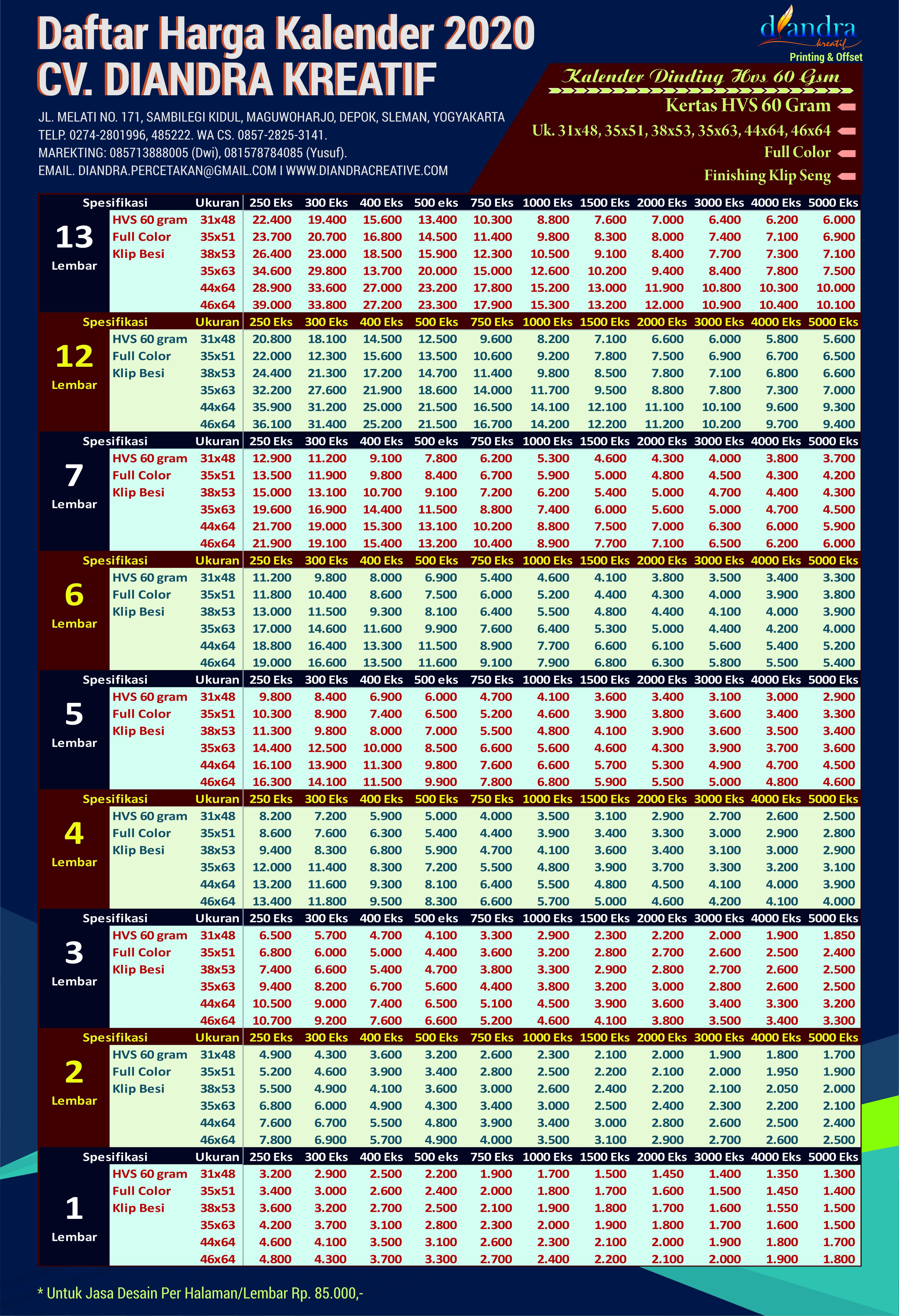 Harga Cetak Kalender 2020