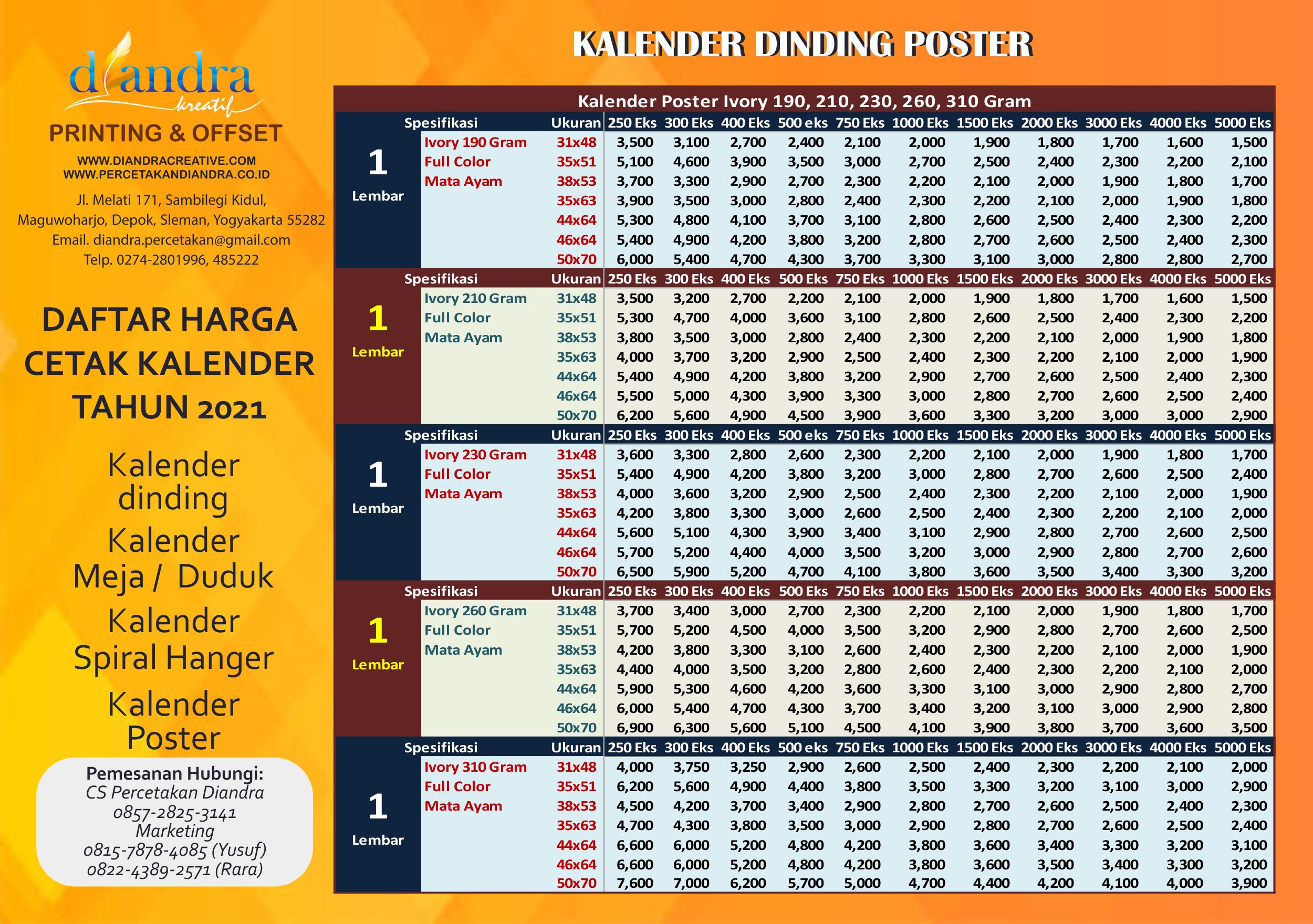 Harga Cetak Kalender Poster