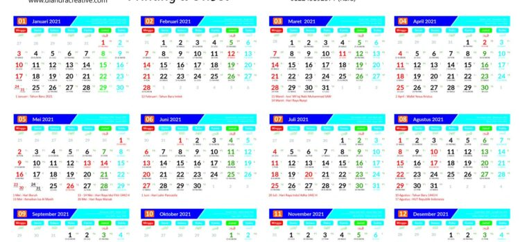 Template Kalender Gratis 2021